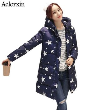 Winter Jacket Women Coat High Neckline Lady Hooded Jacket With Star Print Thick Warm Winter Female Coat  Parka Long Down