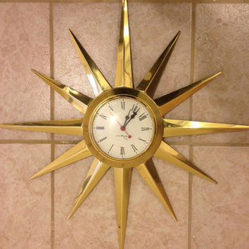 Vintage Ingraham mid Century starburst SUNBURST Clock retro Atomic Brass clock