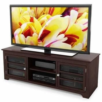 Dark Espresso TV Stand with Glass Doors - Fits up to 68-inch TV