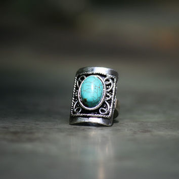 Big Square Turquoise Ring, Statement Ring, Antique Silver Adjustable Ring, Cocktail Fashion Rings, Blue Ring, Stacking Ring, Hipster Rings