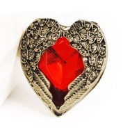 World Pride Vintage Angel Wing Angel Guardian Love Red Stone Adjustable Ring