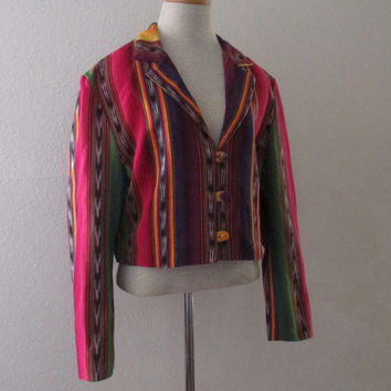 14-1130 Vintage 1990s Guatemalan Color Striped Jacket / Ethnic Woven Jacket / Cropped Jacket / Multi Color Cropped Jacket / Bohemian Jacket
