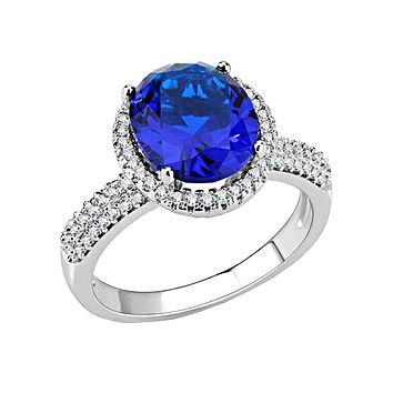 Deep Love - Women's Rhodium Plated Brass Synthetic Montana And CZ Stone Ring