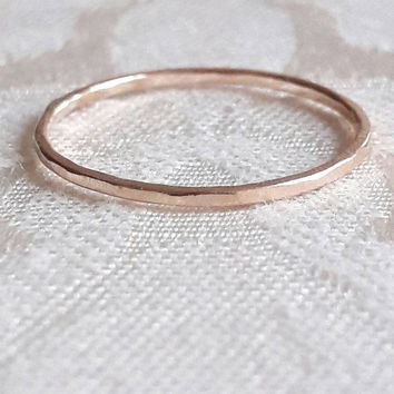 Delicate Yellow Gold Band - Yellow Gold Fill Ring - Filled Gold Ring - Minimalist Wedding Ring - 1mm Gold Stack Ring - Stackable Gold Ring