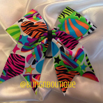 Neon Heart Cheer Bow