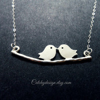 Bird On Branch Necklace,Kissing Love Birds Necklace,Silver Necklace,Bird And Branch Necklace,Two Birds Necklace,Birthday Gifts,Mothers day
