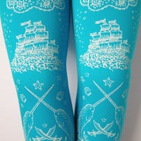 Narwhal Tights Pirate Print Small Medium White by TejaJamilla