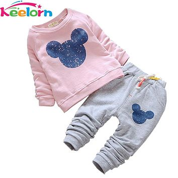 Keelorn Baby Girl Clothes 2017 Autumn Baby Clothing Sets Cartoon Printing Sweatshirts+Casual Pants 2Pcs for Baby Clothes