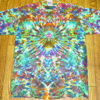 Tie dye Size XL  Krackle Vortex Short  Sleeve Tie Dye Shirt   hippie men  boys  handmade #S35