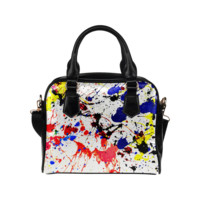 Blue & Red Paint Splatter Shoulder Handbag (Model 1634) | ID: D276523
