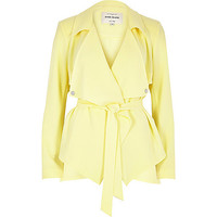 River Island Womens Pastel yellow cropped drape trench jacket