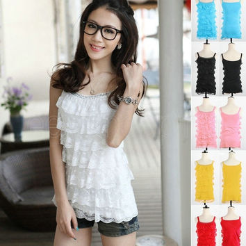 Sexy Women Girl Candy Color Cute Casual Camisole Crystal Sleeveless T-Shirt Blouse Lace Tank Tops Vest = 1958618884