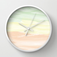 Wall Clock Watercolor Green Orange Yellow Gradient Pastel Home Decor Wall Decor Made To Order Clock Custom Clock