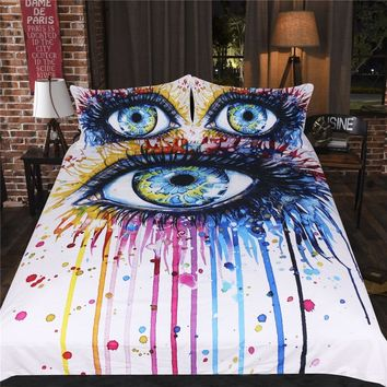 3PCS Watercolor Bedclothes Rainbow Fire by Pixie Cold Art Bedding Set Colorful Duvet Cover Pillowcases Charming Eye Bed Set