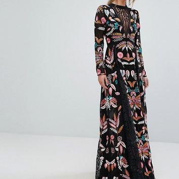 Frock And Frill Embroidered Maxi Dress With Lace Inserts at asos.com