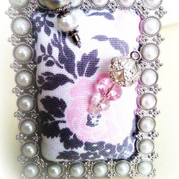 Ornate Silver Pin Cushion Mini Frame: Ready to Ship. Handmade for Hijab pins, stick pins, hat pins. Jewellery Holder