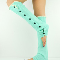 Mint Leg Warmers Socks Boot Toppers Lace Buttons