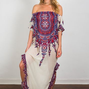 Soah Delphine Off Shoulder Caftan - Red Tribal