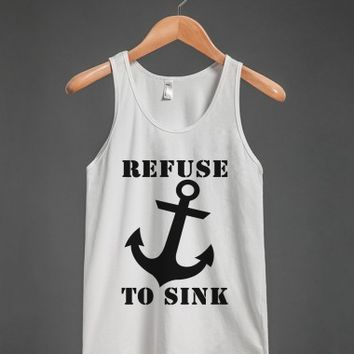 refuse to sink blk/wht tank top - glamfoxx.com - Skreened T-shirts, Organic Shirts, Hoodies, Kids Tees, Baby One-Pieces and Tote Bags