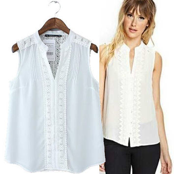 Stylish V-neck Sleeveless Lace Hollow Out Patchwork Chiffon Women's Fashion Tops Shirt [5013323140]