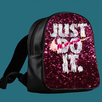 nike just do it colorful Sparkly Glitter for Backpack / Custom Bag / School Bag / Children Bag / Custom School Bag *