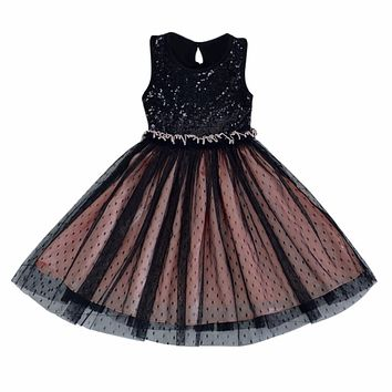 Unique Kid Girl Tulle Fancy Dancing Tutu Dress Toddlers Baby Sequins Dress kids clothes