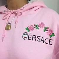 Versace X Champion Flower Rose Embroidered Sweater Hoodie Pullover Pink