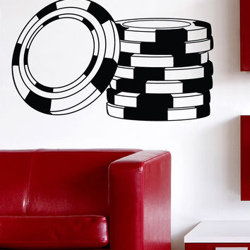 Vinyl Wall Decal Sticker Poker Chips #1477