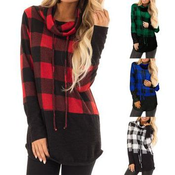STYLEDOME Womens' Autumn Two-color Plaid High Collar Long-Sleeved T-shirt