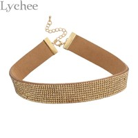 Gohic Punk Silver Gold Rhinestone Choker Necklace 90s Leather Choker Collar Party Jewelry for Women