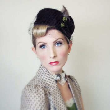 1960's Hat, Vintage Hat, Upcycled Hat, Birdcage Veil, OOAK, Pin up, BURLESQUE, Bombshell