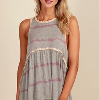 Sweet Tea Tie Dye Tank Grey