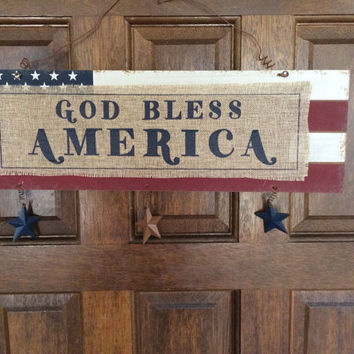 Wooden Rustic Sign, Painted American Flag with Burlap God Bless America, Red White Blue Americana, Metal Stars. Large Front Door Sign