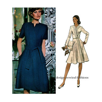 70s VOGUE DRESS PATTERN Sybil Connolly Vogue 1121 Couturier Design Mock Wrap Fit & Flare Dress Bust 34 UNCuT Vintage Womens Sewing Patterns
