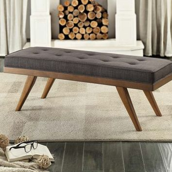 Bingsley collection cherry wood finish frame and grey fabric tufted seat bedroom bench