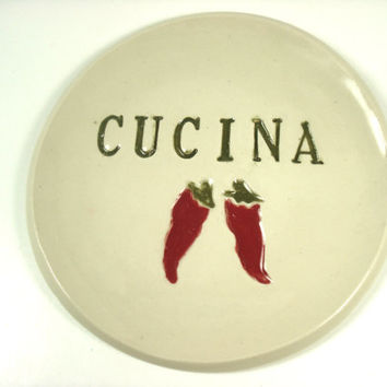 Cucina Spoon Rest, Red Pepper Spoon Rest, Italian Decor, Italian Kitchen, Nonna's Kitchen, Cucina Italiana, Cucina Decor, Red Pepper Plate