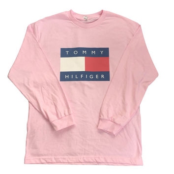 Pink Tommy Hilfiger Logo Long Sleeve Tshirt Vintage 90s Hip Hop Fashion