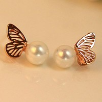 Lovely  butterfly pearl stud  earring
