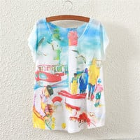 White Short Sleeve Fish Harvest Print T-Shirt