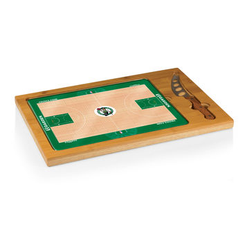 Boston Celtics - 'Icon' Glass Top Serving Tray & Knife Set by Picnic Time (Basketball Design)