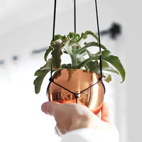 Small Vintage Copper Cup Hanging Planter / Modern by HRUSKAA