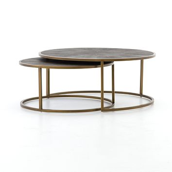 BLOSSOM NESTING COFFEE TABLE-ANTIQUE BRASS FINISH