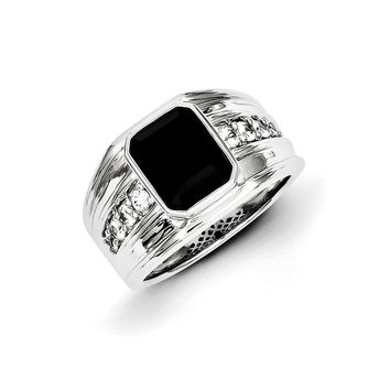 Black Onyx & White Sapphire 12mm Tapered Ring in Sterling Silver