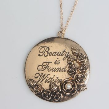 Beauty And The Beast Charm Necklace Engraving Letter Beauty is Found Within Rose Tag Pendant Women Jewelry Accessories