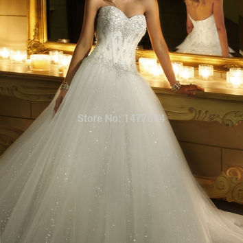 Hot style romantic ball gown, corset beaded lace bodice bridal dress, classic princess wedding dresses 2014, layers of tulle