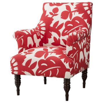 Candace Upholstered Arm Chair - Red Floral
