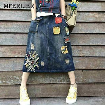 Mferlier Mori Girl Literature Jeans Skirt Vintage Bleached Floral Embroidered Patchwork Women Long Skirts Autumn Denim Skirt