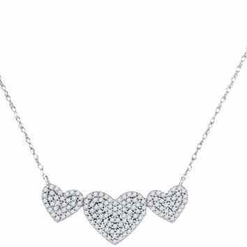 10kt White Gold Women's Round Diamond Triple Heart Cluster Pendant Necklace 3-8 Cttw - FREE Shipping (US/CAN)
