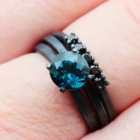 7mm London Blue Topaz and Black Diamond Bridal Set in Oxidized Sterling Custom Made to Order in Your Size