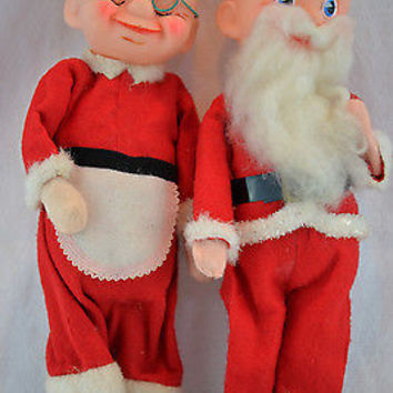 Santa & Mrs Claus Christmas Figurines 1950's Original Felt Holiday Dolls
